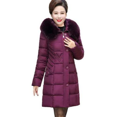 Winter Faxu Fur Hooded Collar Jacket 2018 New Middle-aged Women Thicken Parkas Cotton Padded Coats Female Outerwear Plus Size