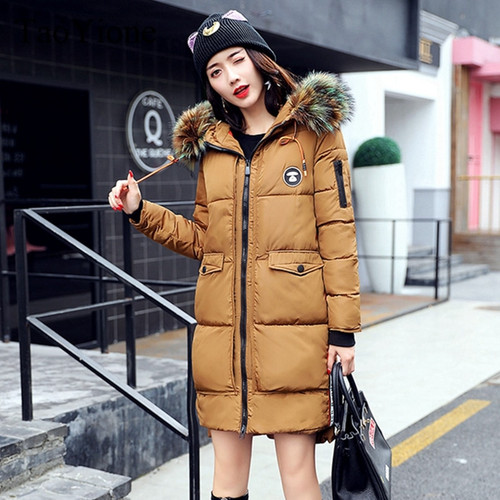 2017 New Winter Jacket Women Coat Warm Slim Thick Long Parkas Good Quality Color Fur Collar Hooded For Women Coats Female Jacket