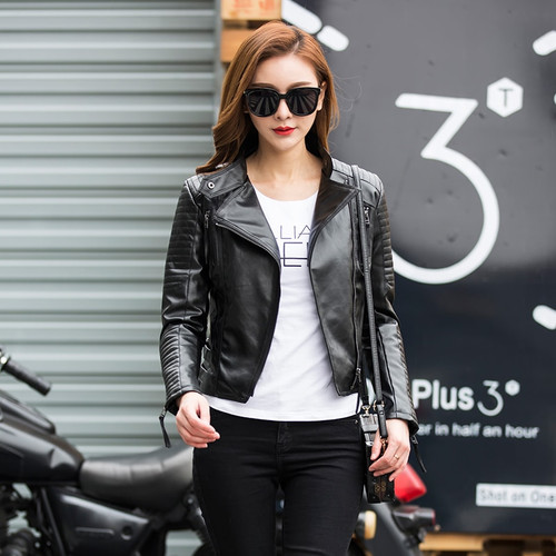 Fitaylor Autumn Women Punk Leather Jacket Soft PU Faux Leather Female Jackets Basic Bomber Leather Coats