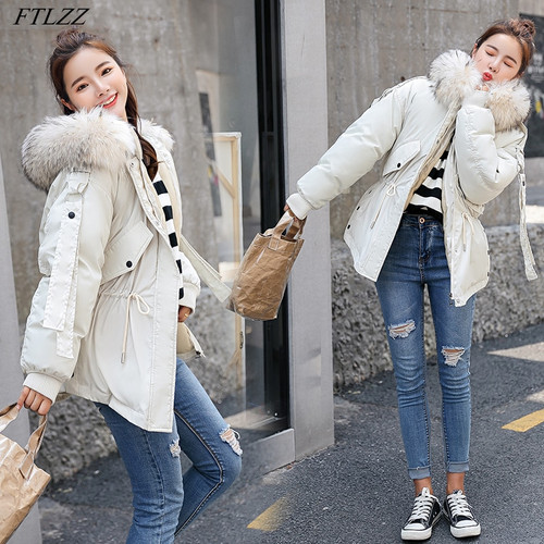 FTLZZ 2018 Women Winter Short Jacket Mujer Hooded Parkas Winter Coat Women Loose Parka Fur Collar Cotton Padded Jackets
