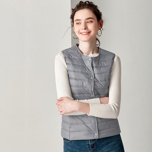 2018 New Causal Women White Duck Down Vest Ultra Light Vest Jacket Winter Weightless Round Collar Sleeveless Coat