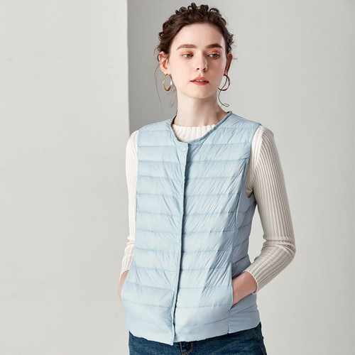 2018 New Causal Women White Duck Down Vest Ultra Light Vest Jacket Winter Weightless Round Collar Sleeveless Coat
