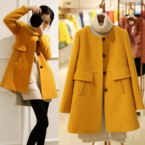 Women Autumn Winter Wool Blend Outerwear Warm Long  Slim Fit O Neck Coats Pockets Female Plus Size Woolen Blends Overcoat