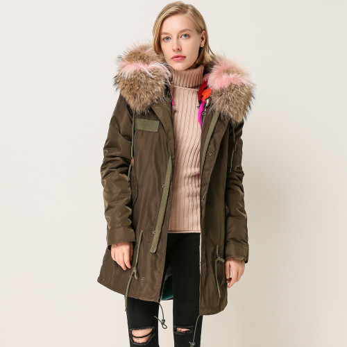 QIUCHEN 2018 New arrival free shipping  natural colorful rabbit fur lined cheap waterproof parka for women length88cm
