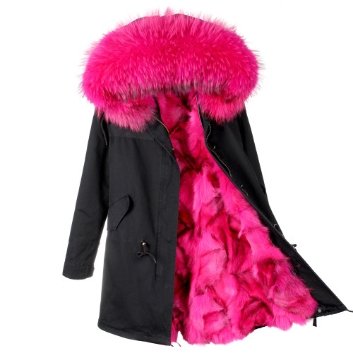 2018 new fashion women luxurious Large raccoon fur collar hooded coat warm Fox fur liner parkas long winter jacket top quality