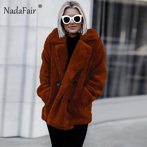 Nadafair plus size fleece faux fur jacket coat women winter pockets thick teddy coat female soft plush overcoat veste fourrure