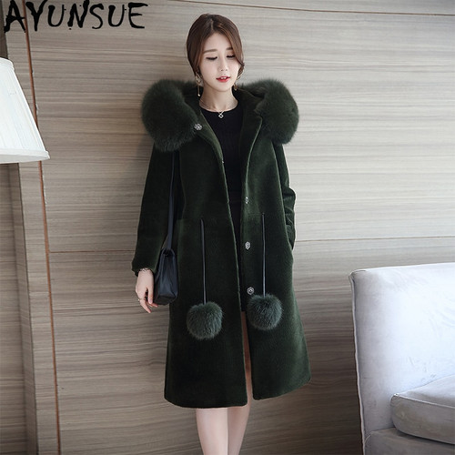 AYUNSUE Real Fur Sheep Sheared Nature Wool Coat Women Fox Fur Collar Hooded Long Pink Winter Jacket Casacas Para Mujer KJ541