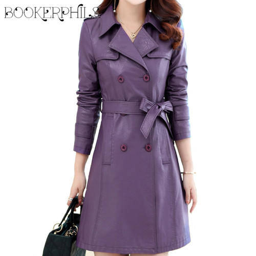 2018 Autumn Winter Long Leather jacket women Plus Size Double Breasted Spring Female coat PU Faux Leather Women Outwear M-4XL