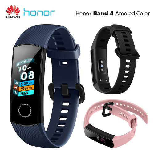 "Huawei Honor Band 4 Smart Wristband Amoled Color 0.95"" Touch Screen 5ATM Waterproof Swim Heart Rate Sleep Snap Smart Bracelet"