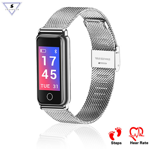 2018 New Lady Elegant Stainless Steel Heart Rate smart band Woman girl Blood Pressure bracelet weather forecast smart wristband