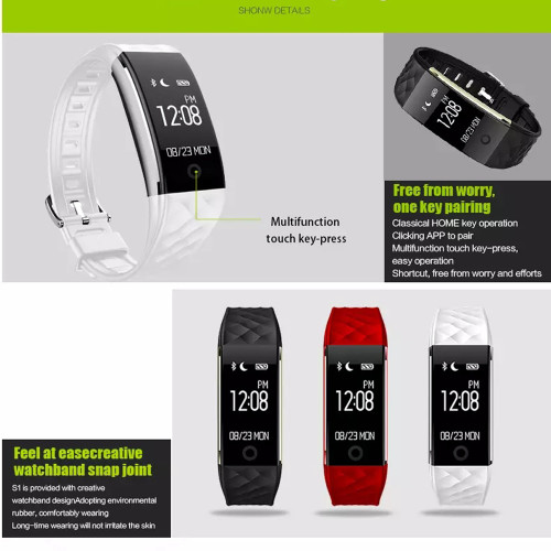 TREZER S2 Fitness Bracelet Tracker Heart Rate Monitor IP67 Waterproof Sport Pedometer Smart Wristband Bracelet PK miband 2