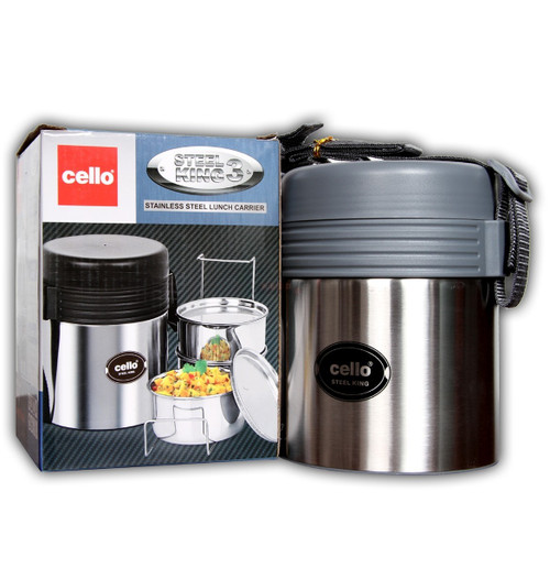 Cello Steel King 3 Containers Lunch Box  (750 ml)