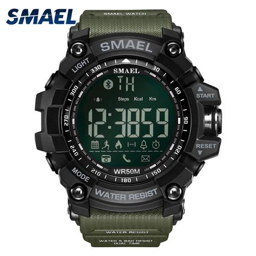 50Meters Swim Dress Sport Watches Smael Brand Army Green Style  Bluetooth Link Smart Watches Men Digital Sport Male Clock 1617B