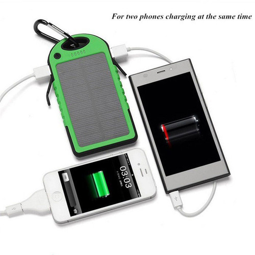 50pcs a Lots Free Shipping 5000MAH USB External Backup Solar Power Bank Charger Battery Waterproof