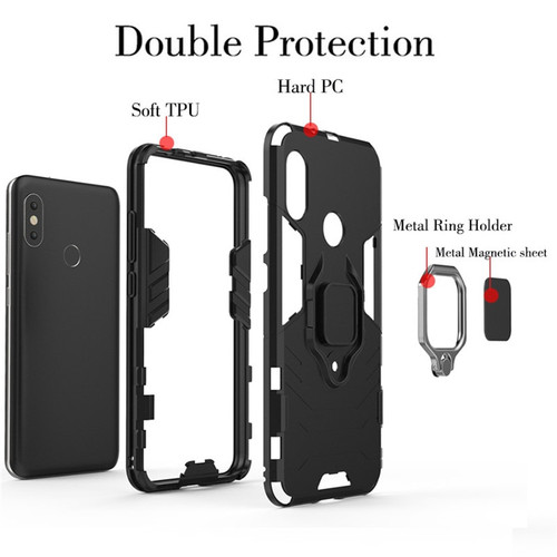 Redmi 6 Pro Case Magnetic Armor Phone Case for Xiaomi Mi A2 Lite Car Ring Holder Stand Silicone Hard Back Cover Red Mi 6pro Capa