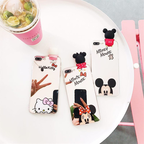 Cute 3D Cartoon Mickey Minnie Mouse Mirror Clear Slim Phone Case For Samsung Galaxy S9 S9Plus S8 S8 Plus Note8/9 Silicone Cover
