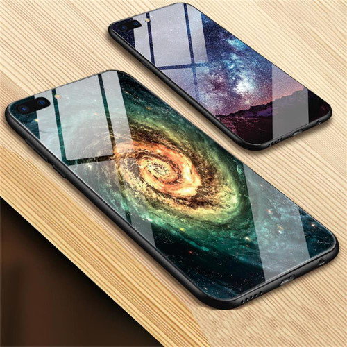TOMKAS Glass Phone Case For iPhone X 7 8 10 6 s XS Star Space Cover Case For iPhone 8 7 6 6s Plus X Luxury Case Silicone Coque 6