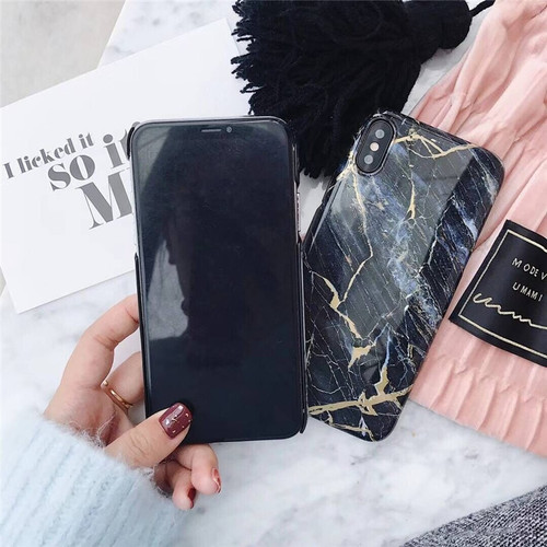 Luxury Green Black Marble Phone Case for Iphone 7 Case for Iphone 6s 6 7 7plus 8 8Plus 6 S Plus X Hard Plastic Back Cover Fundas