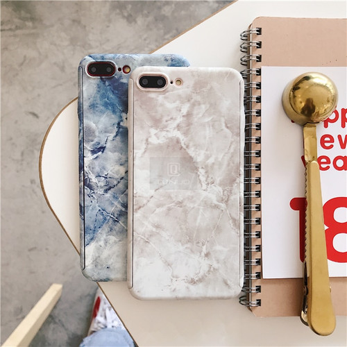 QINUO 360 Full Body Hard Phone Case For iphone XS 5 5S SE 6s 7 8 Plus Cover Marble Stone Shockproof Coque For iphone X XR XS Max