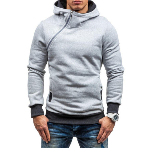 Brand 2017 Hoodie Oblique Zipper Solid Color Hoodies Men Fashion Tracksuit Male Sweatshirt Hoody Mens Purpose Tour XXXL