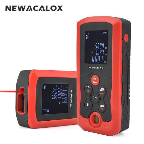 NEWACALOX IP54 Laser Distance Meter 40M 70M 100M Mini Laser Rangefinder Tape Range Finder Electronic Measure Construction Tool