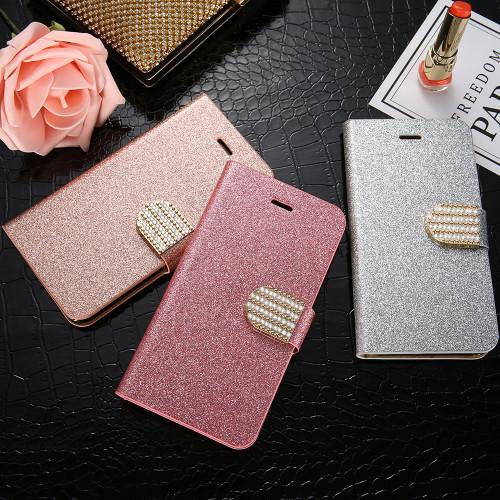 KISSCASE Glitter Diamond Flip Case For iPhone 6 6S Plus Wallet Stand Phone Case For iPhone 5 5S SE For iPhone 7 8 Plus X Covers