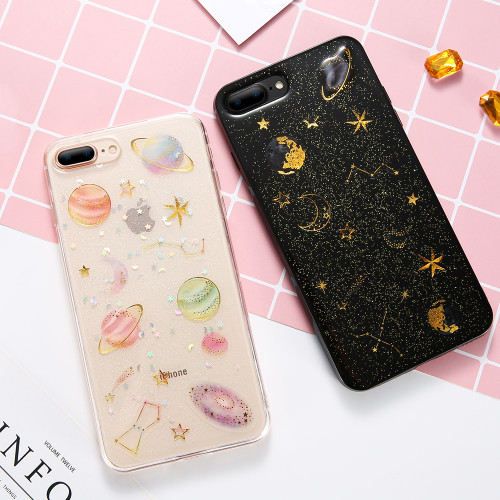 KISSCASE Luxury Glitter Stars Case For iPhone 7 6 6s 8 Plus Girly Soft Silicon TPU Back Cover For iPhone X 10 5s SE Fundas Coque