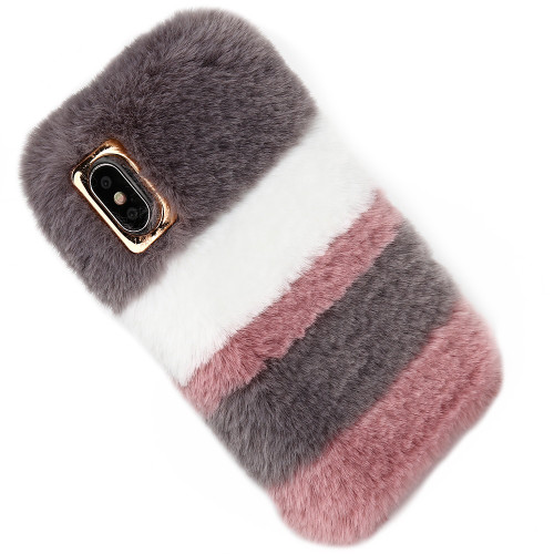 Girl Cute Rabbit Fur Plush Case For iPhone 10 X 6s 7 8 Plus Touch Soft Winter Warm Cover Case For iPhone XR XS Max Phone Cases