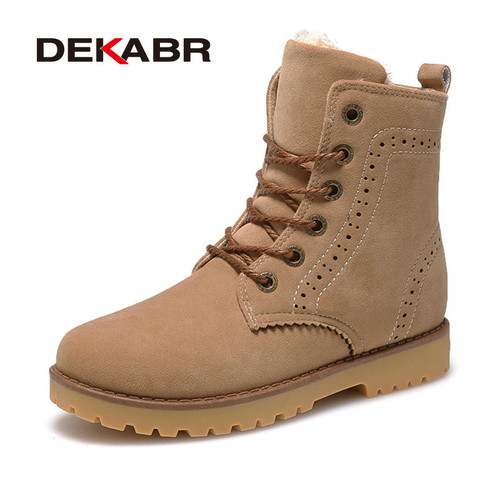 High Quality Imported Men Boots Winter Snow Warm Casual Shoes Men Boots Leather Plush Fur Fashion Unisex Lovers Boots Size 35-44