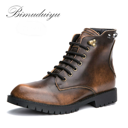 BIMUDUIYU Metallic Color Single/Winter Plush Rivet Leather Men Snow Boots Vintage Casual Motorcycle Martin Boots Large Size