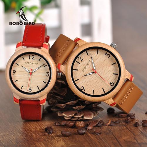 BOBO BIRD Couple Watch Women Wooden Men's Watches Quartz Men Bamboo relogio feminino erkek kol saati in Gifts box