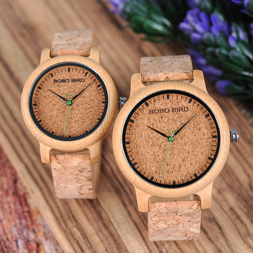 BOBO BIRD Watches Bamboo Couple Clocks Analog Display Bamboo Material Handcrafted Timepieces Wooden Watch Men Made in China