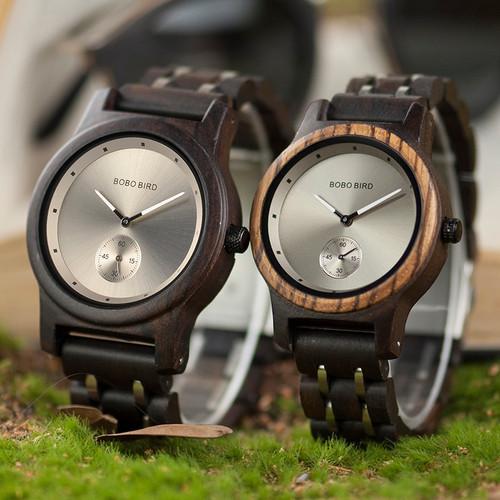 BOBO BIRD Couple Watch Lover's Men Watches Women Wooden Quartz Ladies Clock Gift Cuostom logo saat erkek masculino watch
