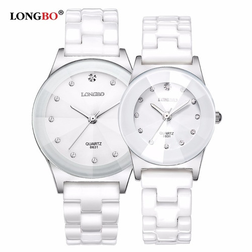 2018 LONGBO Top Brand Fashion Quartz White Ceramic Lovers Watches Luxury Casual Unique Ladies Dress Wristwatch Relogio Feminino