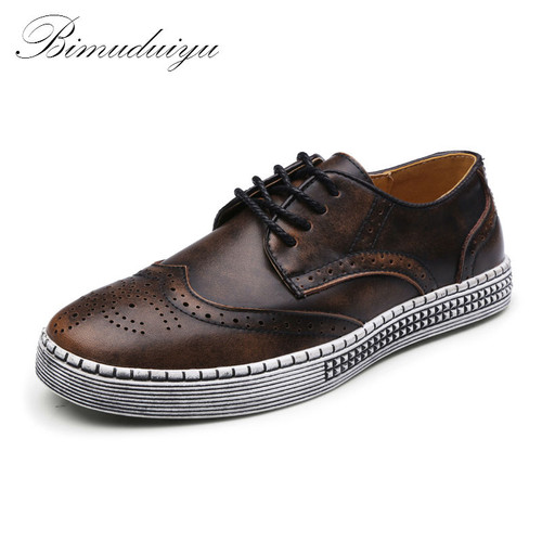 Imported Spring Autumn New Trendy Shoes Quality Genuine Leather Soft Casual Gentleman Brogue Style Men's Shoes 38-48 Large size