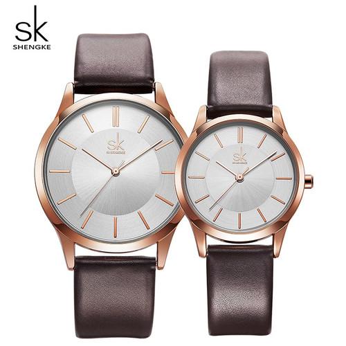 Shengke New Fashion Leather Strap Women Men Couple Watches Luxury Quartz Female Male Wrist Watch 2018 New Christmas Gift #K8037