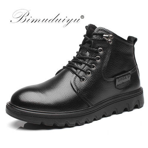 New Men Imported Winter Boots 100% Real Leather Shoes Handmade Super Warm Motorcycle Boots Waterproof Ankle Snow Boots For Men