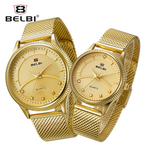 BELBI Couple Watches Diamond Watch for Men and Women Ultra-Thin Steel Watchstrap Clock Business Japan Quartz Movement Hodinky