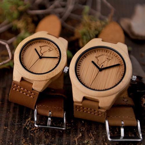 BOBO BIRD Hot Selling Men Women Wooden Watches Elk Deer Wolf Bamboo Case Leather Band Quartz Watch Brand Designer for Lovers OEM