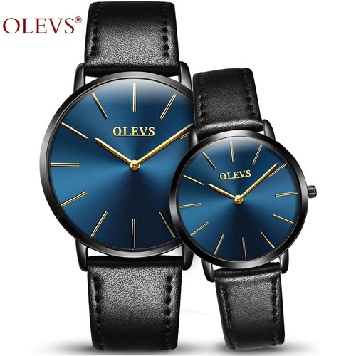 2018 OLEVS Brand Lover Watches Quartz Couple Watch Man and Ladies Genuine Leather Women Waterproof 30m Wristwatches montre homme