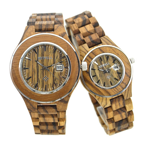BEWELL Men's Watch Couple Lady Watch Natural Wood Handmade Ladies Luxury Top Brand Design Quartz Couple Gift Fashion Casual 100A