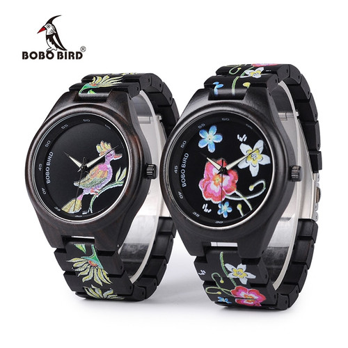 3 Models BOBO BIRD New Special Gifts Watches UV Print Black Wooden Watch for Men Women Christmas Gifts relogio masculino C-P06