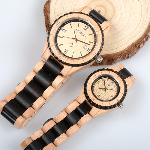BEWELL Brand Men Women Wooden Watches Two Tone Strap Eco-friendly All Wood Band Antique Quartz Watch for Lover in Gift Box 128A