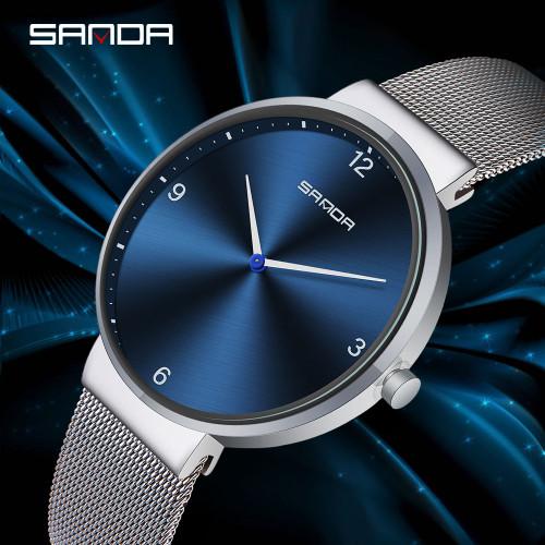 SANDA Fashion Simple Couple Watches Men Watch Full Steel Mesh Belt Quartz Wristwatch Ultra-thin Clock Women Lovers Gift relogio