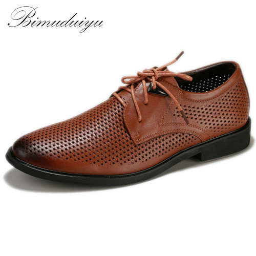 Hollow Out Super Cool Breathable Men Casual Shoes Summer New Business Style Quality Genuine Leather Pointed Hole Shoes