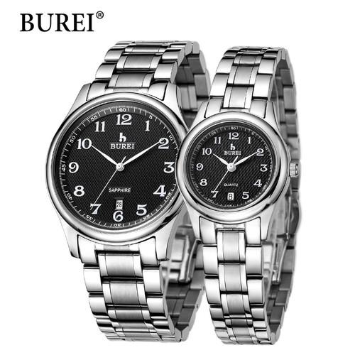 BUREI Top Brand Men Women Dress Quartz Watch New Hand Couples Table Fashion Casual Clock Steel Band Wristwatches Hot Sale Gift
