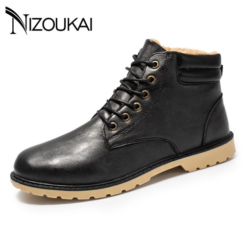 Mens Boots Winter Ankle Fashion Classic Shoes Plush Warm Man Snow Boots 2018 Hot Sales Quality Leather Winter Shoes Men