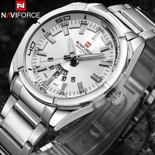 NAVIFORCE Brand Men Watches Luxury Sport Quartz 30M Waterproof Watches Men's Stainless Steel Band Auto Date Wristwatch