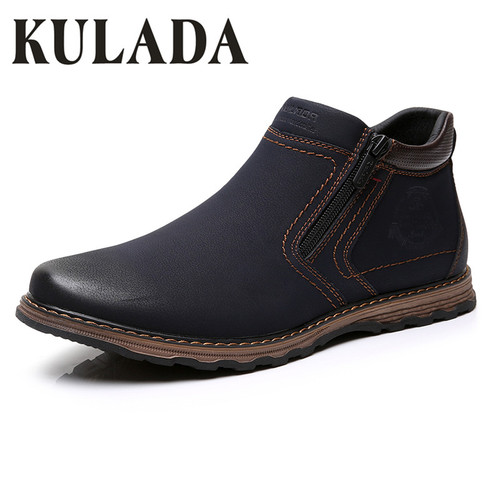KULADA Men Boots Comfortable Winter&Autumn Warm Waterproof Fashion Bilateral Zipper Ankle Boots Casual Men Leather Classics Shoe