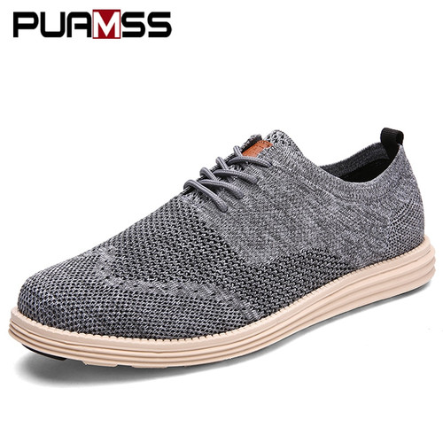2018 New Men Casual Shoes Men Business Formal Brogue Weave Carved Oxfords Wedding Dress Shoes Breathable Light Men Shoes